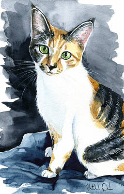 Painting - Baby - Calico Cat Painting by Dora Hathazi Mendes