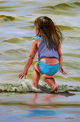 Painting - Baby Catching A Wave by Phyllis Beiser