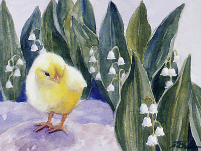 Painting - Baby Chick And Lily Of The Valley Flowers by Janet Zeh