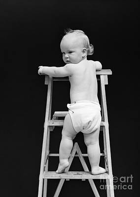 Baby Climbing Ladder, 1940s Art Print by H. Armstrong Roberts/ClassicStock