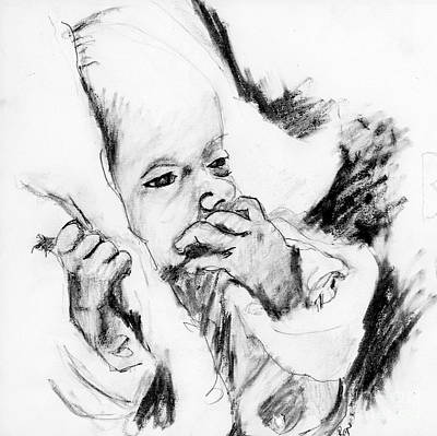 Drawing - Baby Concern by Ron Bissett