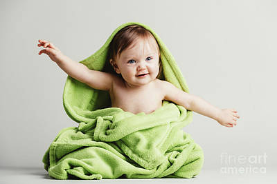Photograph - Baby Covered In Green Blanket In A Funny Pose. by Michal Bednarek