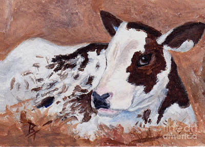 Painting - Baby Cow Aceo by Brenda Thour