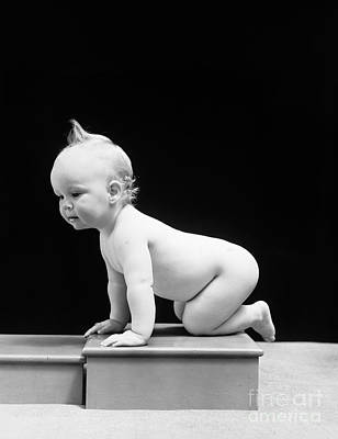 Naked Kids Photograph - Baby Crawling On Wooden Box, C.1930-40s by H. Armstrong Roberts/ClassicStock