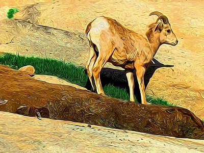 Baby Desert Bighorn In Abstract Art Print