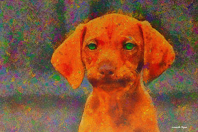 Puppy Digital Art - Baby Dog - Da by Leonardo Digenio