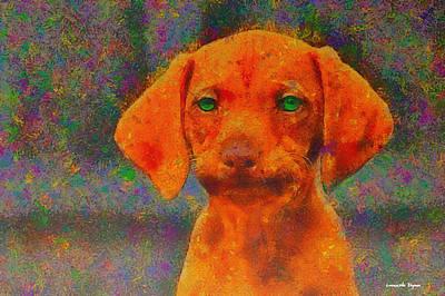 Mustache Painting - Baby Dog - Pa by Leonardo Digenio