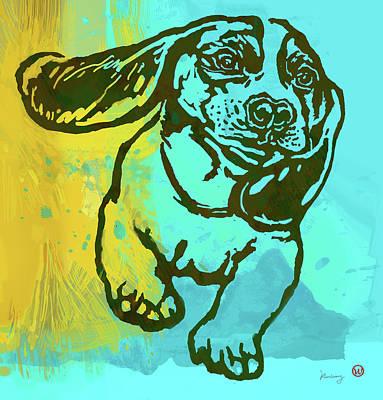 Charcoal Mixed Media - Baby - Dog Pop Art Poster by Kim Wang