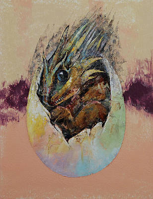 Hatchlings Painting - Baby Dragon by Michael Creese
