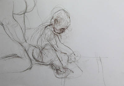 Drawing - Baby, Drawing With Mother by Harry Robertson