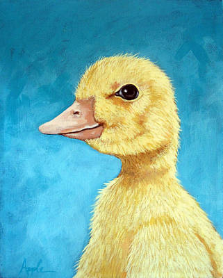 Baby Duck - Spring Duckling Art Print by Linda Apple