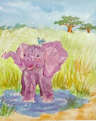 Painting - Baby Elephant Close Cropped by Ellen Levinson