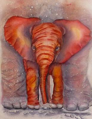 Painting - Baby Elephant Cozy Under Mama by Kelly Mills