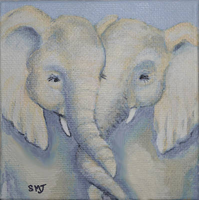 Baby Elephant Friends Art Print
