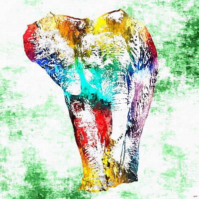 Sahara Mixed Media - Baby Elephant Grunge by Daniel Janda