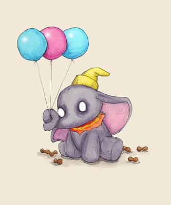 Elephant Mixed Media - Baby Elephant  by Ludwig Van Bacon
