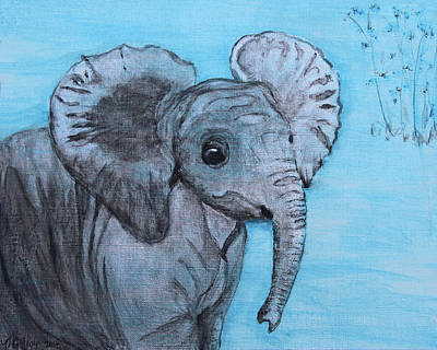 Happy Elephant Painting - Baby Elephant by M Gilroy