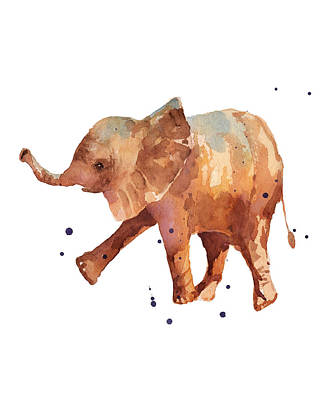 Baby Elephant Painting - Baby Elephant Print - Cute Baby Elephant by Alison Fennell