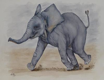 Painting - Baby Elephant Run by Kelly Mills