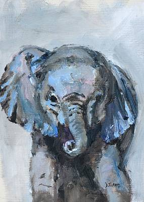 Painting - Baby Elephant Safari Animal Painting by Donna Tuten
