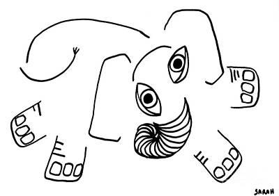 Animals Drawings - Baby Elephant by Sarah Loft