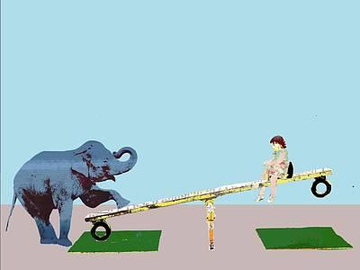 Digital Art - Baby Elephant See Saw by Keshava Shukla