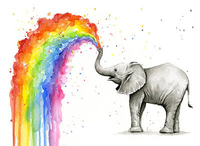 Rainbow Wall Art - Painting - Baby Elephant Spraying Rainbow by Olga Shvartsur