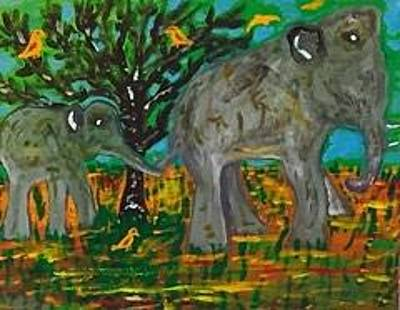 Painting - Baby Elephant Stella And Mother Donna by Jonathon Hansen