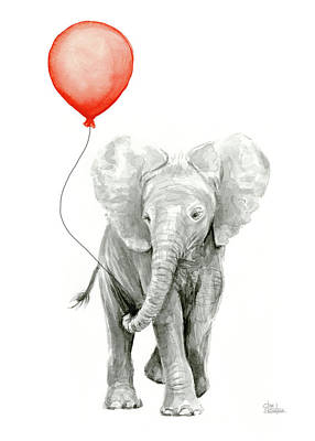 Baby Elephant Watercolor Red Balloon Print by Olga Shvartsur
