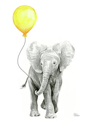 Elephant Painting - Baby Elephant Watercolor With Yellow Balloon by Olga Shvartsur