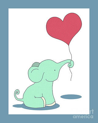 Digital Art - Baby Elephant With A Heart Balloon by Krokoneil