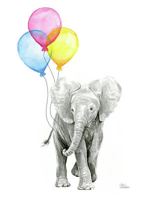 Balloon Painting - Baby Elephant With Baloons by Olga Shvartsur