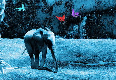 Elephants Digital Art - Baby Elephant With Butterflies by Abstract Angel Artist Stephen K