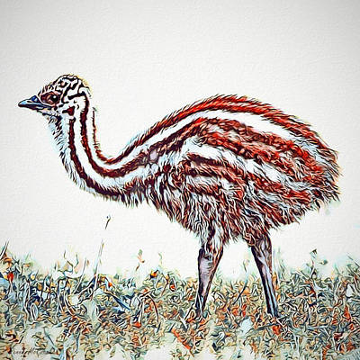 Digital Art - Baby Emu by Pennie  McCracken