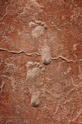 Baby Footsteps Etched In Stone Print by Tracie Kaska