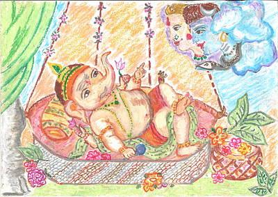 Ganapathi Painting - Baby Ganesha  by Chitra Pandalai