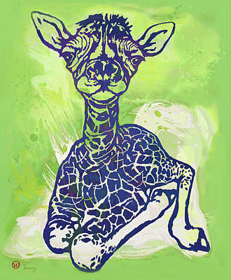 Stripes Mixed Media - Baby Giraffe  -  Stylised Pop Art Poster by Kim Wang