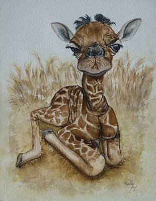 New Born Baby Giraffe Art Print