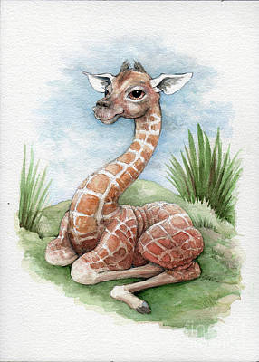 Art Print featuring the painting Baby Giraffe by Lora Serra