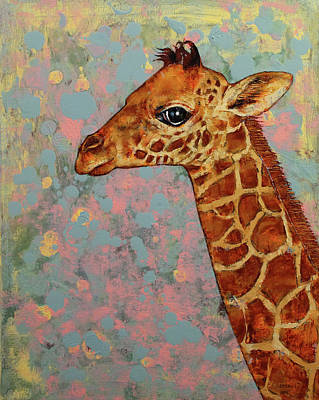 African Child Painting - Baby Giraffe by Michael Creese