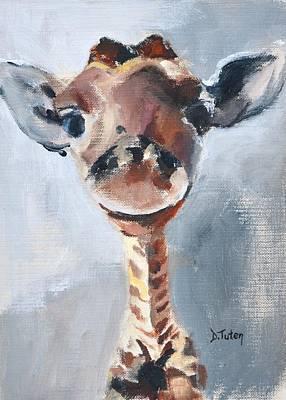 Painting - Baby Giraffe Safari Animal Painting by Donna Tuten