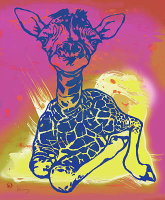 Species Mixed Media - Baby Giraffe - Stylised Pop Art Poster by Kim Wang