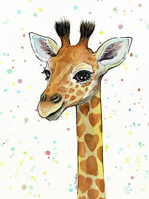 Whimsical Painting - Baby Giraffe Watercolor With Heart Shaped Spots by Olga Shvartsur