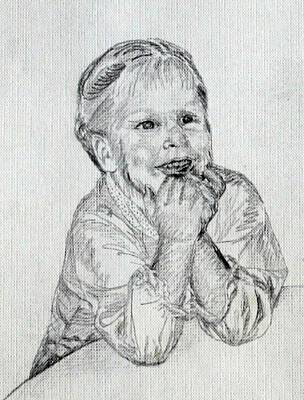 Angelic Drawing - Baby Girl At Table by Sheri Buchheit