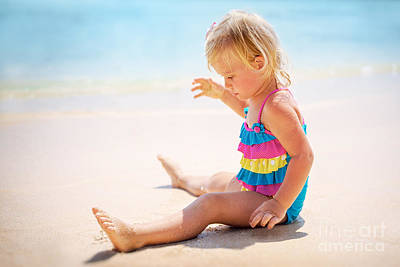 Photograph - Baby Girl Playing On The Beach by Anna Om
