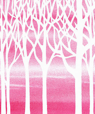 Painting - Baby Girl Room Pink Forest by Irina Sztukowski