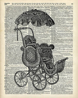 Upcycled Art Painting - Baby Pram Over A Vintage Dictionary Page by Jacob Kuch