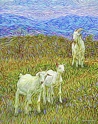 Digital Art - Baby Goats Of The New Dawn by Joel Bruce Wallach