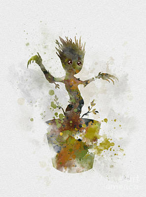 Movie Mixed Media - Baby Groot by Rebecca Jenkins