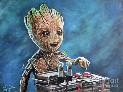 Painting - Baby Groot by Tom Carlton